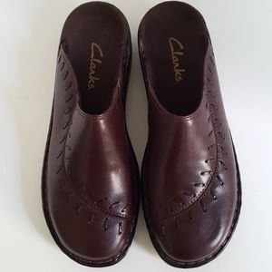 Clarks Brown Leather Slip On Mules